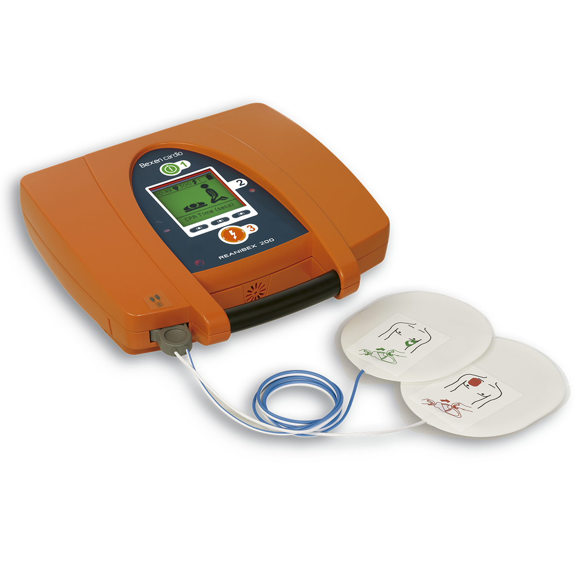 Desfibrilador Reanibex 200 con cable y electrodos para adultos